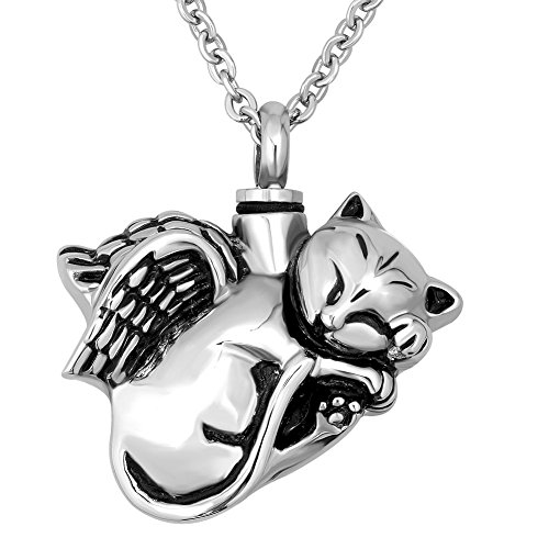- Q&Locket Cat Pet Memorial Urn Necklaces for Ashes Angel Wings Cremation JewelryAshes Holder