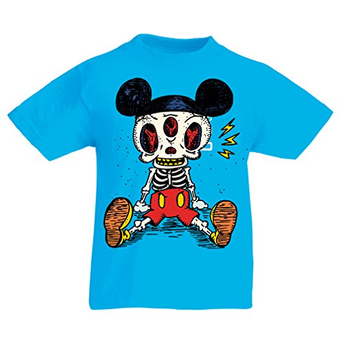 T Shirts for Kids Mouse Skeleton Halloween Party Outfits Trick or Treat Death Skull Design (14-15 Years Light Blue Multi Color)
