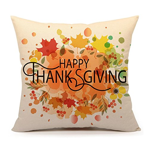 4TH Emotion Happy Thanksgiving Autumn Leaves Home Decor Design Throw Pillow Cover Pillow Case 18 x 18 Inch Cotton Linen for Sofa (Thanksgiving Pillows)