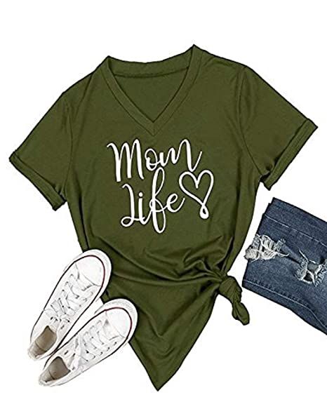 126055752f1fb Feel Show Women s Summer Shirts Short Sleeve Letters Printed T-Shirt Casual  V-Neck