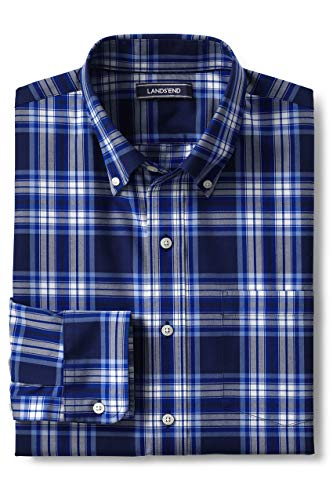 Lands' End Men's Traditional Fit No Iron Twill Shirt, S, Deep Sea/Dusty Lupine Plaid