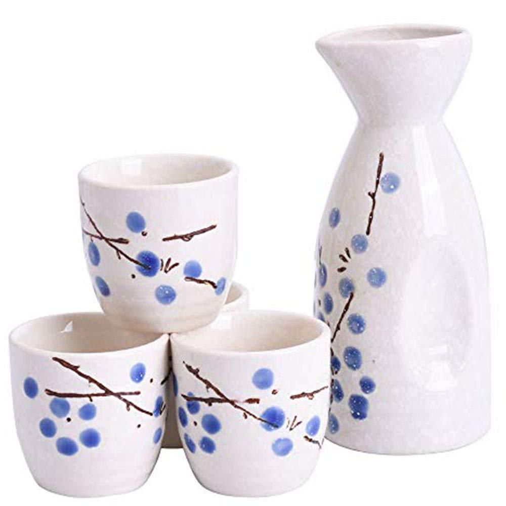 Japanese Blue Plum Sake Set of 1 Sake Pot and 4 Sake Pot