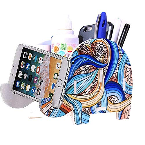 Cell Phone Stand, Cute Elephant iPhone Stand Tablet Desk Bracket with Pen Pencil Holder for Tablet Nintendo Switch iPad Smartphone Pot Holder Container Stationery Box Organizer