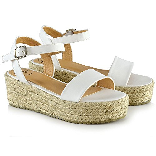 ESSEX GLAM Damen Plateau Espadrille Sandalen Frau Fesselriemen Keilabsatz Schuhe Weiß Kunstleder