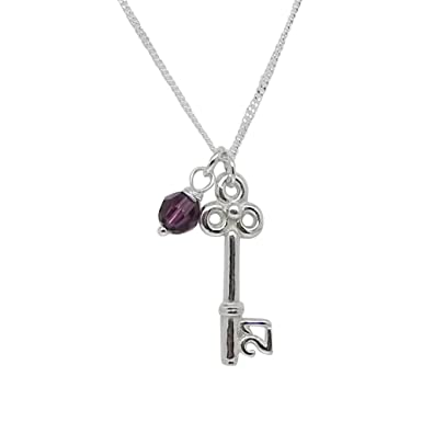 Equilibrium Silver Plated Key Pendant 21st Birthday Necklace (54411) GIAeX
