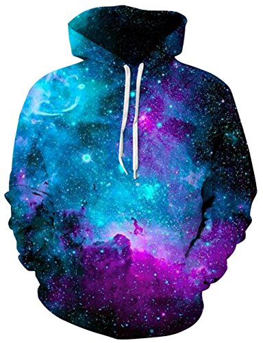 Mens 1970s Sweater (Goodstoworld 70s Unisex Purple Galaxy Hoody Graphic Designed Fashion Casual Pullover Hoodie Sweatshirt Coat Clothes for Male Female Couple)