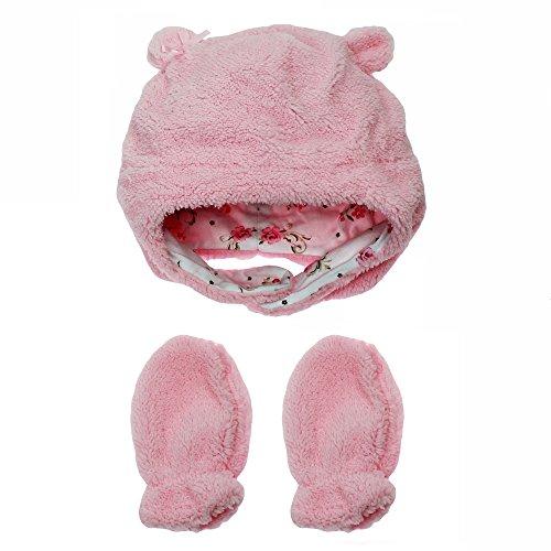 Hand Knit Mittens (Little Me Baby Girls Fleece Winter Hat with Chin Strap and Mittens Newborn Pink 12-24)