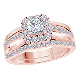 2.00 CT Princess Cut Cubic Zirconia 14k Rose Gold Plated Split Shank Halo Style Wedding Engagement Ring Bridal Set