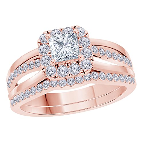 2.00 CT Princess Cut Cubic Zirconia 14k Rose Gold Plated Split Shank Halo Style Wedding Engagement Ring Bridal Set by Star Retail