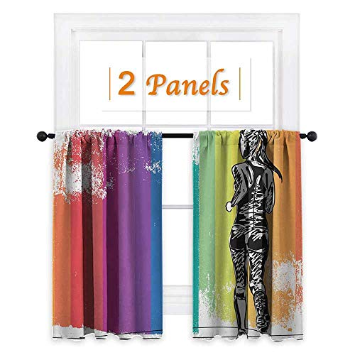 Olympics, Room Darkening Wide Curtains, Female Marathon Runner Illustration on Vertical Stripes in Rainbow Colors, for Bedroom (W55 x L45 Inch) Orange Purple Blue