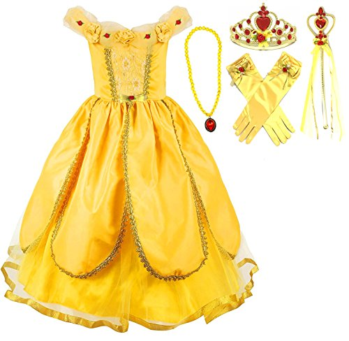 Princess Belle Yellow Belle Party Costume Dress-up Set (6-7, (Yellow Dress Costumes)