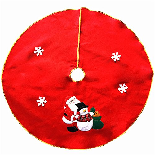 FinerMe Nonwovens Red Christmas Tree Skirt 36 inch Xmas Tree Skirt Embroidered with Snowman and Snowflake,Christmas Decoration New Year Party Supply (Angeles Artificial Christmas Los Trees)