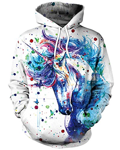ENLACHIC Unisex Simulation 3D Alpaca Print Galaxy Pocket Hooded Sweatshirt Unicorn M