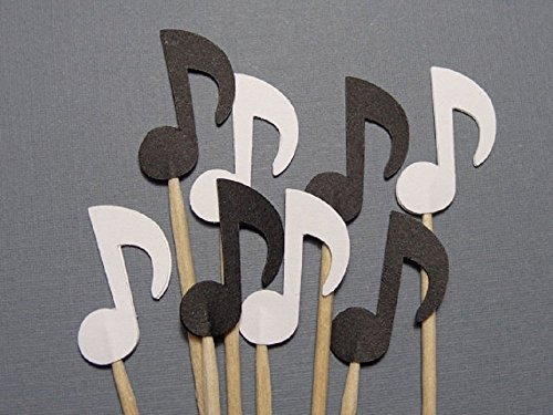 Small-Black-and-White-Music-Note-Cupcake-Toppers-Food-Picks-Party-Picks-Appetizer-Picks-Set-of-24