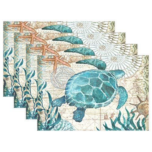 - Jereee Blue Sea Turtle Nautical Map Set of 4 Placemats Heat-Resistant Table Mat Washable Stain Resistant Anti-Skid Polyester Place Mats for Kitchen Dining Decoration