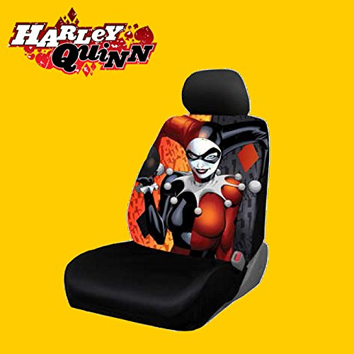 New Design 8 Pieces DC Comic Harley Quinn Car Seat Covers Floor Mats And Steering Wheel
