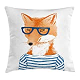 Ambesonne Modern Throw Pillow Cushion Cover, Hipster Woman Fox with Glasses and Striped Shirt Humor Character Animal Print, Decorative Square Accent Pillow Case, 18 X 18 Inches, Blue Orange White