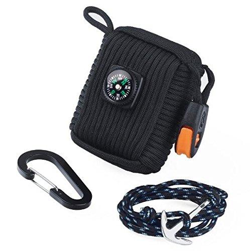 Paracord Survival Kit & Anchor Bracelet Black