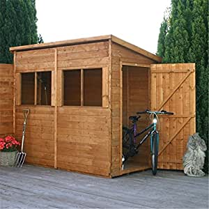 8ft x 4ft Pent Premier Wooden Tongue and Groove Garden Shed with Single Door + 4 Windows (12mm Tongue and Groove Floor and Roof)