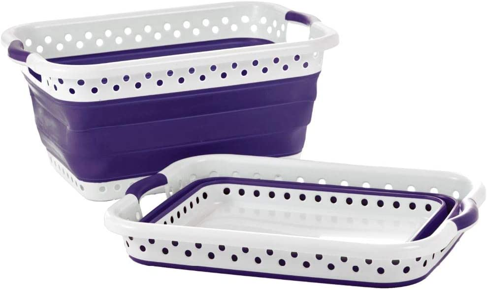 Pop & Load Collapse & Store Collapsible Basket Ultra-Slim Utility POP & LOAD- LAUNDRY, Large Rect - 2 Handles, PURPLE