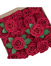 Mocoosy 50Pcs Artificial Rose Flowers, Dark Red Fake Roses for Decoration