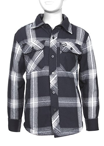 Tony Hawk Boys Long Sleeve Plaid Button Down Flannel Shirt with Sherpa Lining School Clothes Shirt BLK HTHR (Blk Plaid Button)