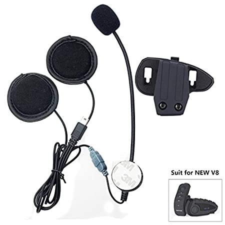 VNETPHONE Staffa Clip Cuffie con Microfono per V8 Moto Casco Bluetooth Interfono Intercom