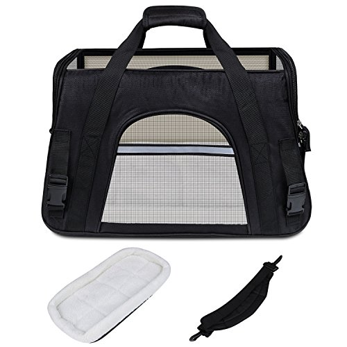 GDPETS Pet Carrier, Airline Approved Cat Carrier Bag Small& Medium Sized Animal, Soft-Sided Pet Travel Tote Fleece Bed, Portable Dog Carriers Hold Up to (10lbs) Fit Under Seats by GDPETS (Image #3)