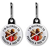 ALLERGIC TO PEANUTS & TREE NUTS Medical Alert Pair of 1 inch Black Zipper Pull Charms