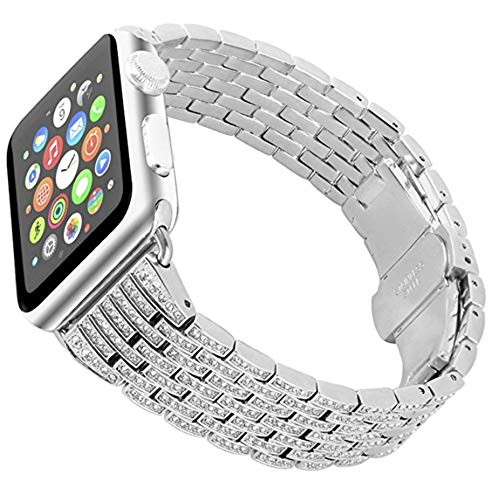 Scattered Diamond Watch - Amaztar Watch Band Compatible With Apple Watch Luxurious Crystal Rhinestone Diamond Stainless Steel Bracelet Strap (Silver, 42mm)