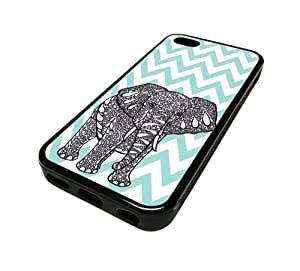 Apple iPhone 5C 5 C Case Cover Elephant Blue Chevron DESIGN BLACK RUBBER SILICONE Teen Gift Vintage Hipster Fashion Design Art Print Cell Phone Accessories Kimberly Kurzendoerfer