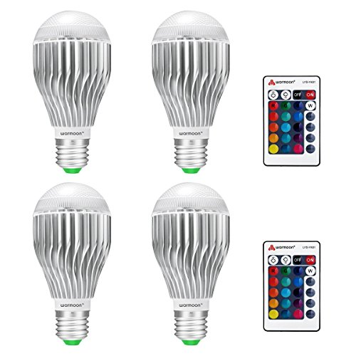 E26 LED Light Bulbs, Dimmable 10W RGB 16 Color Changing, Remote Controller Include, for Mood Lighting (Pack of 4) -