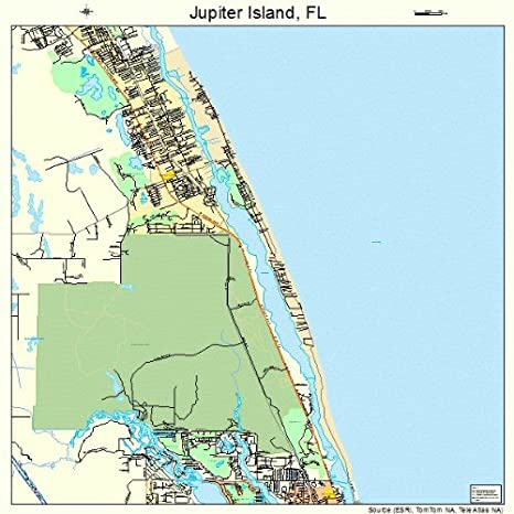 Map Of Florida Showing Jupiter.Amazon Com Large Street Road Map Of Jupiter Island Florida Fl