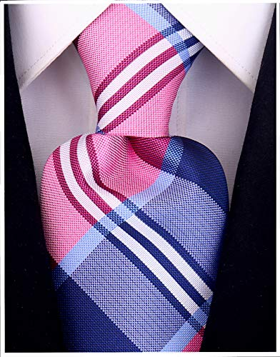 Silk Narrow Ties Blue (Buffalo Plaid for Men - Woven Necktie - Blue and Pink)
