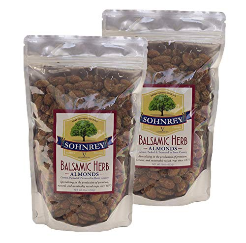 - Balsamic Herb Roasted Seasoned Salt Vinegar and Herb Flavored Tangy Snack Almonds Steam Pasteurized (2-Pack) by Sohnrey Family Foods