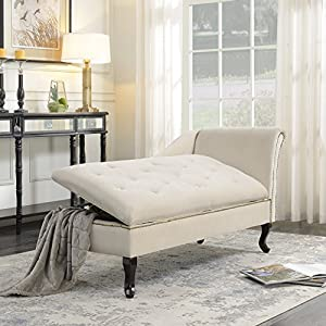 BELLEZE Velveteen Button Tufted Open Fold Storage Spa Chaise Lounge Chair Couch for Bedroom Living Room