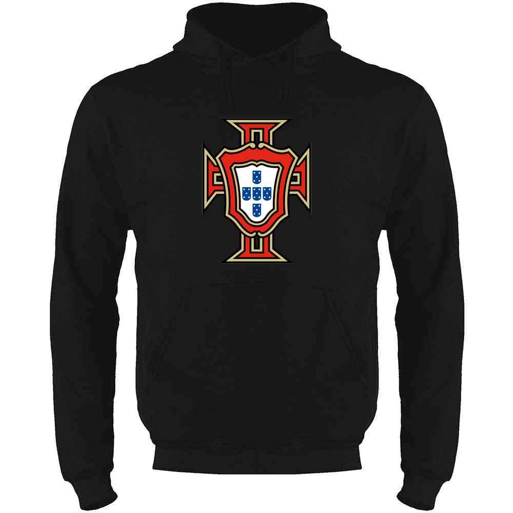 Portugal Soccer National Team Football Retro Crest Mens Fleece Hoodie Sweatshirt