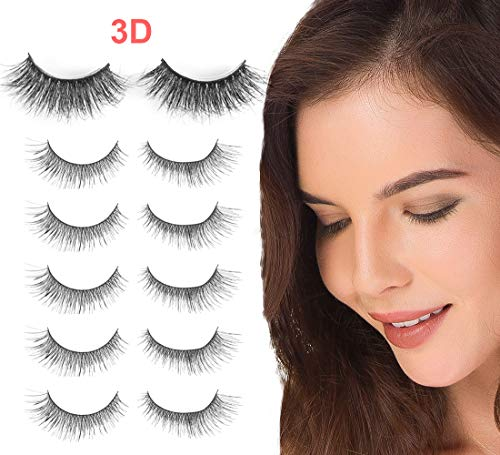 Niidor False Eyelash 5 Pairs Crisscross Eyelashes + 1 Pair 3D Mink Fur False Eyelash for Women,Makeup of Long Thick Natural Look Handmade False Eyelashes