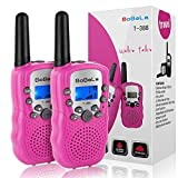 Bobela Cute Walkie-Talkies for Women Hiking - T-388 Portable Walky-Talky with Flashlight for Adults Girls Wakie-Talkies with FCC PTT Mic 22 Channels for Kids as Cool Personalized Gifts (Pink 2 Pack)