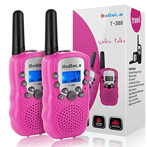 Bobela Cute Walkie-Talkies for Women Hiking - T-388 Portable Walky-Talky with Flashlight for Adults Girls Wakie-Talkies with FCC PTT Mic 22 Channels for Kids as Cool Personalized Gifts (Pink 2 Pack) by Bobela (Image #7)