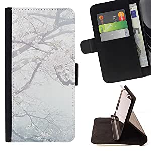 For Apple (4.7 inches!!!) iPhone 6 / 6S Case , Primavera pétalos de la flor Flor de cerezo de Japón- la tarjeta de Crédito Slots PU Funda de cuero Monedero caso cubierta de piel