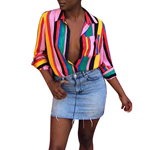 (NEWONESUN Clearance Sale Women Work Office Multicolor Long Sleeve Shirt Striped Blouse Button Down Tops)