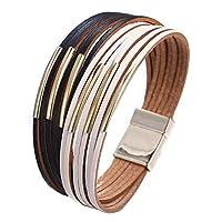 17mile Multilayer Leather Wrap Bead Bracelet - Braided Boho Crystal Bracelet- with Magnetic Clasp Girls
