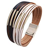 Multi-Layer Leather Bracelet - Braided Wrap Cuff Bangle - with Alloy Magnetic Clasp Handmade...