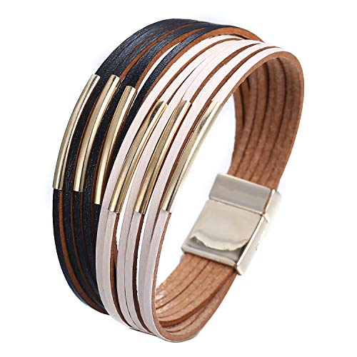 17mile White and Black Wrap Bracelet Multi-Layer Leather Bead Stand Bracelet with Alloy Magnetic Clasp Boho Jewelry for Women