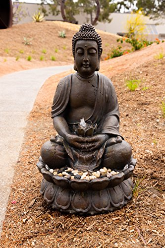 "Alpine GEM122 Buddha Water Feature with LED Light, 33"" Tall, Gray from Alpine"