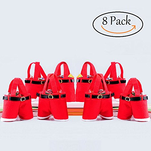 Bonison Christmas Santa Pants Gift and Treat Bags with Handle. Portable Funny Decorative Baskets for Christmas Party, Celebration, Gift Wrapping. Pack of 8 (7