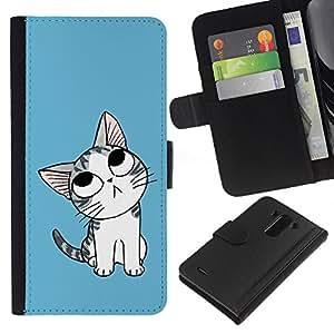 JackGot ( Carino Pensare Cat ) LG G3 la tarjeta de Crédito Slots PU Funda de cuero Monedero caso cubierta de piel
