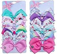 [6Pcs/Set] 5 Inch Cute Mermaid Unicorn Rainbow Colorful Hair Bows Clips Grosgrain Ribbon Alligator Accessories