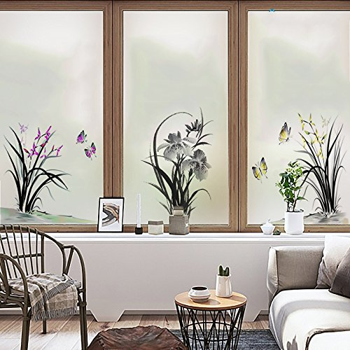 Yingli Yl Stained Glass Decorative Window Film  Premium Static Cling No Glue Stained Glass Decorative Window Film  Vinyl Scrub Privacy Window Film Three Pieces Of Set A B C  45Cm60cm  Orchid